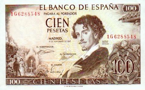 Billete de 100 pesetas con el retrato de Gustavo Adolfo Bécquer