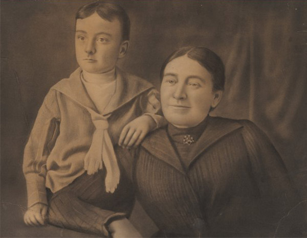 Edgar Allan Poe con su madre