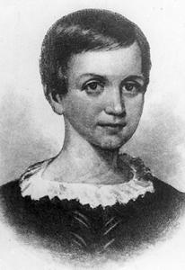 Retrato de Emily Dickinson de niña