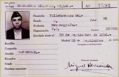 Carnet del Partido Comunista de Miguel Hernández