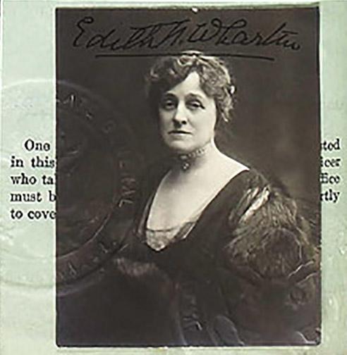 Fotografía del pasaporte de Edith Wharton. 1921