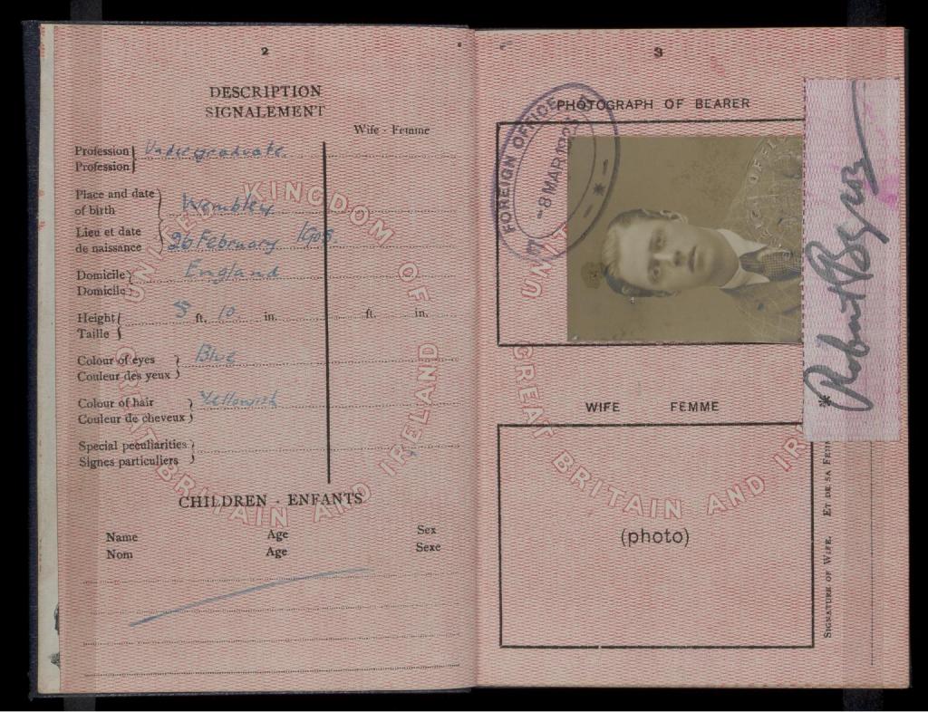 Pasaporte de Robert Byron