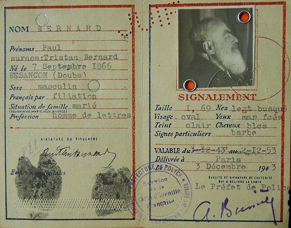 Tristán Bernard. Tarjeta de identificación francesa. 1943