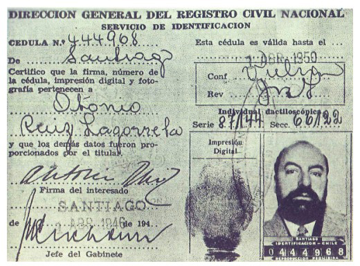 Falso carnet de identidad utilizado por Pablo Neruda