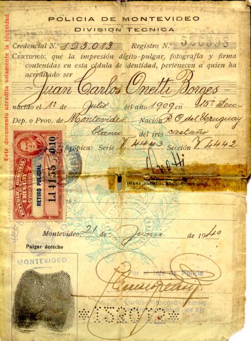 Cédula de identidad de Juan Carlos Onetti