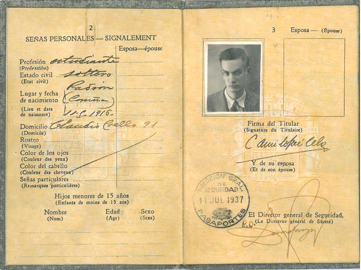 Pasaporte de soltero de Camilo José Cela