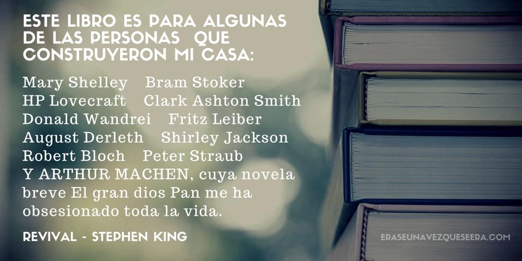 Dedicatoria de Stephen King para los autores que forjaron su carrera