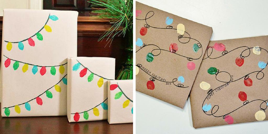 Ideas para envolver libros en Navidad: papel kraft y luces pintadas