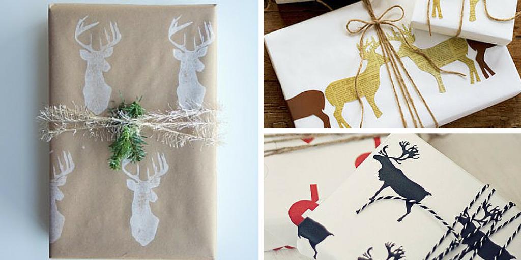 Libros de Navidad empaquetados con decoración de renos