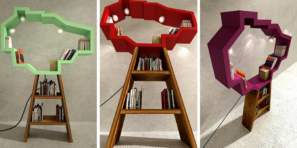Librerías con forma de árbol y luces