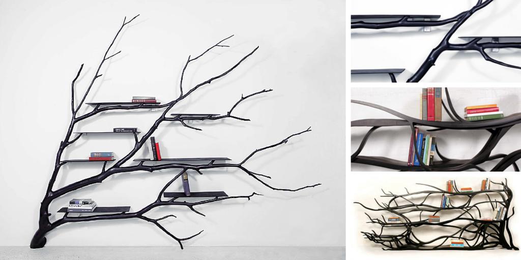 Librerías hechas con ramas caídas