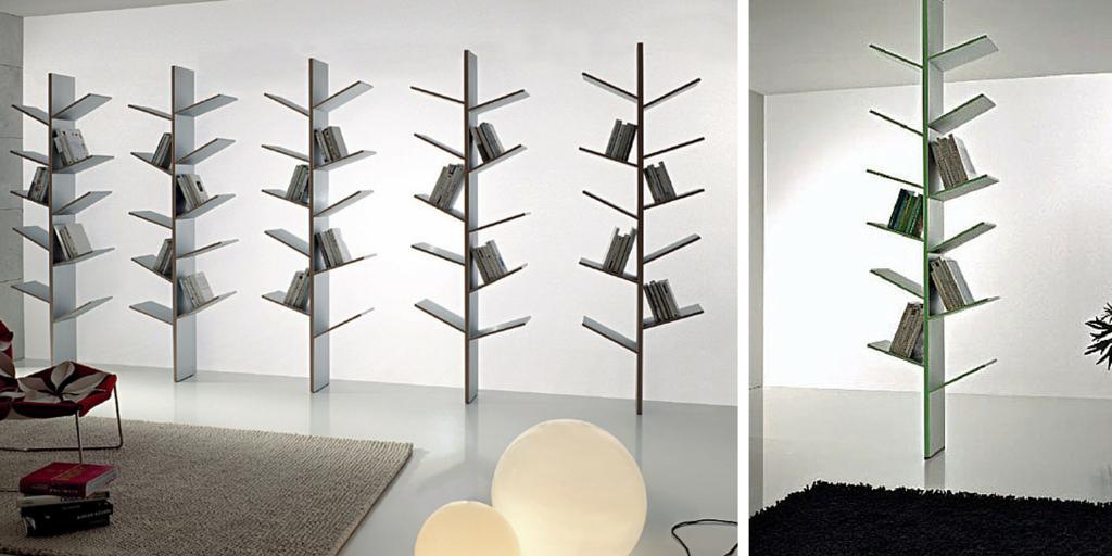 Librerías minimalistas con forma de árbol