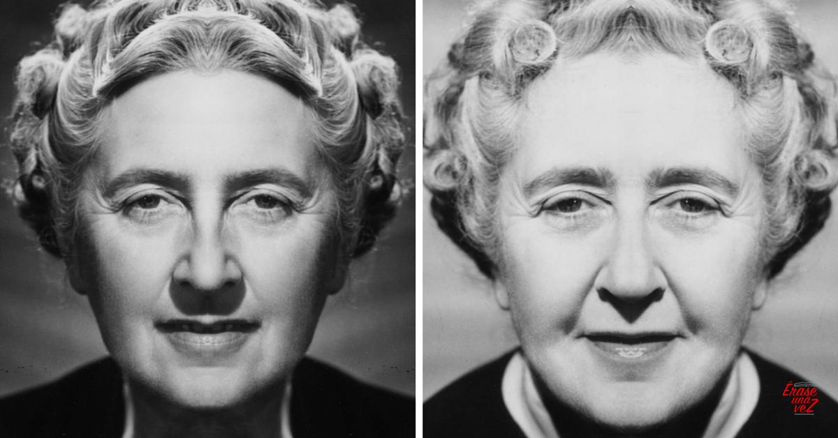 El rostro de Agatha Christie si fuera simétrico