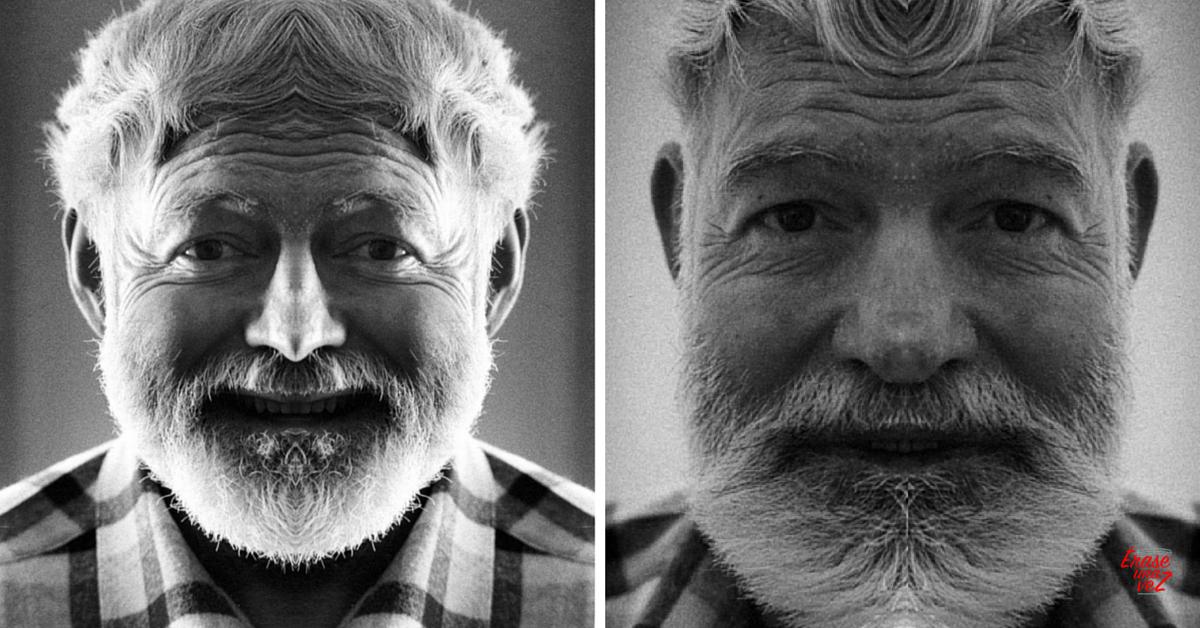 Cómo se vería la cara de Ernets Hemingway si fuera simétrica
