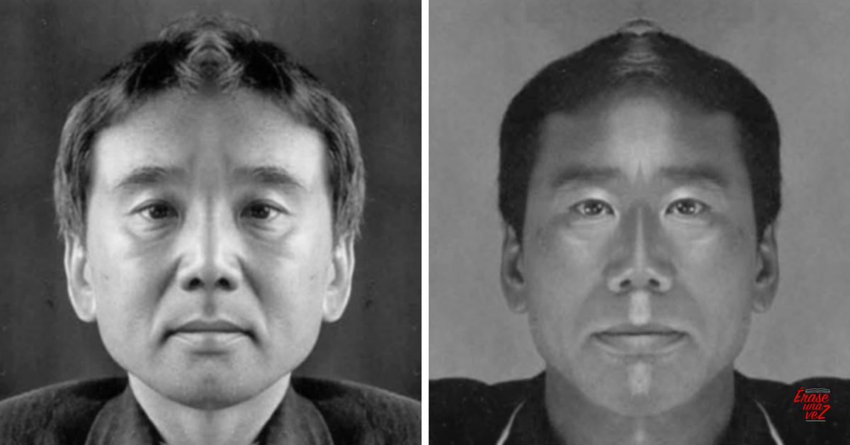 El rostro de Haruki Murakami si fuera simétrico