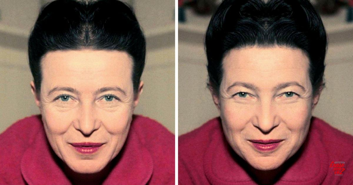 El rostro de Simone de Beauvoir si fuera simétrico