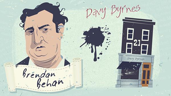 Brendan Behan y el pub Davy Byrne