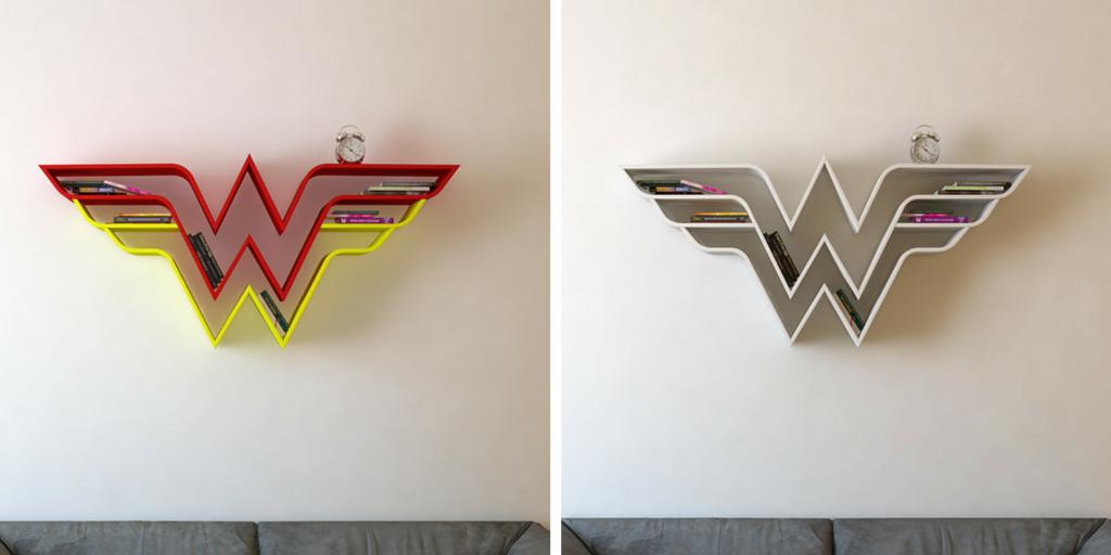 Estanterías para libros con el logotipo de la Mujer Maravilla