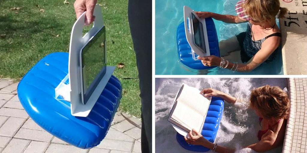 Cojín hinchable para leer en la piscina