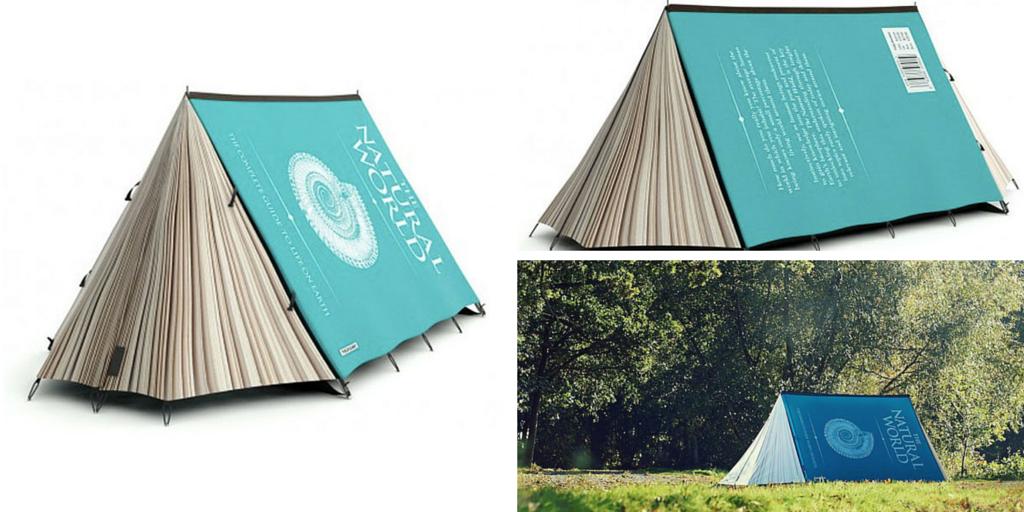 Tienda de campaña con forma de libro