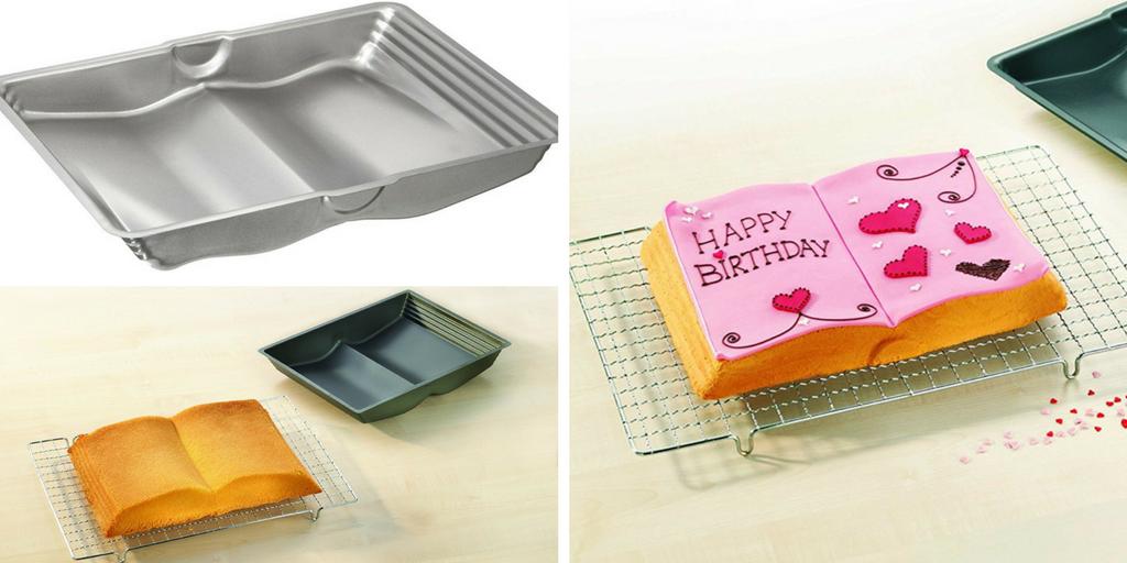Molde para tartas con forma de libro abierto