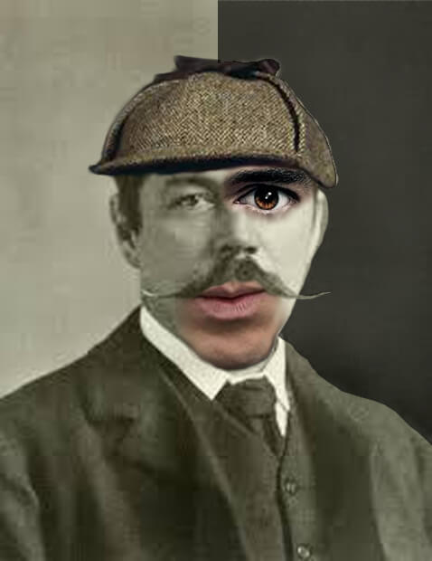Arthur Conan Doyle mezclado en un collage con los actores que han interpretado a Sherlock Holmes