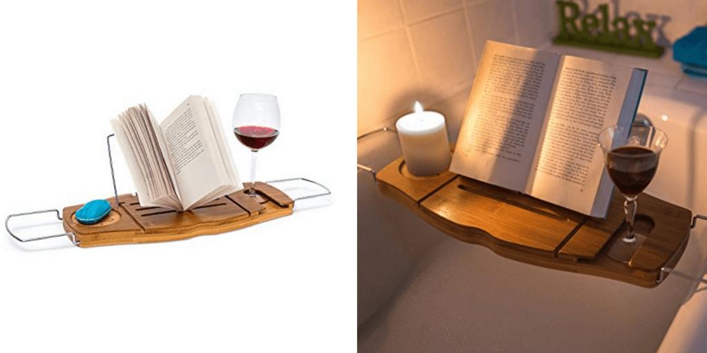 Bandeja con soporte para libros para leer en la bañera