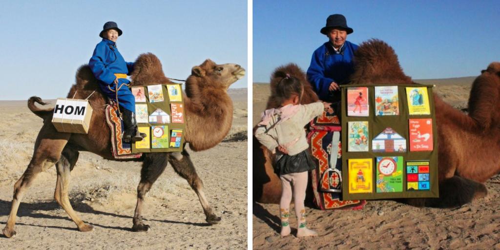 Biblioteca ambulante a lomos de un camello