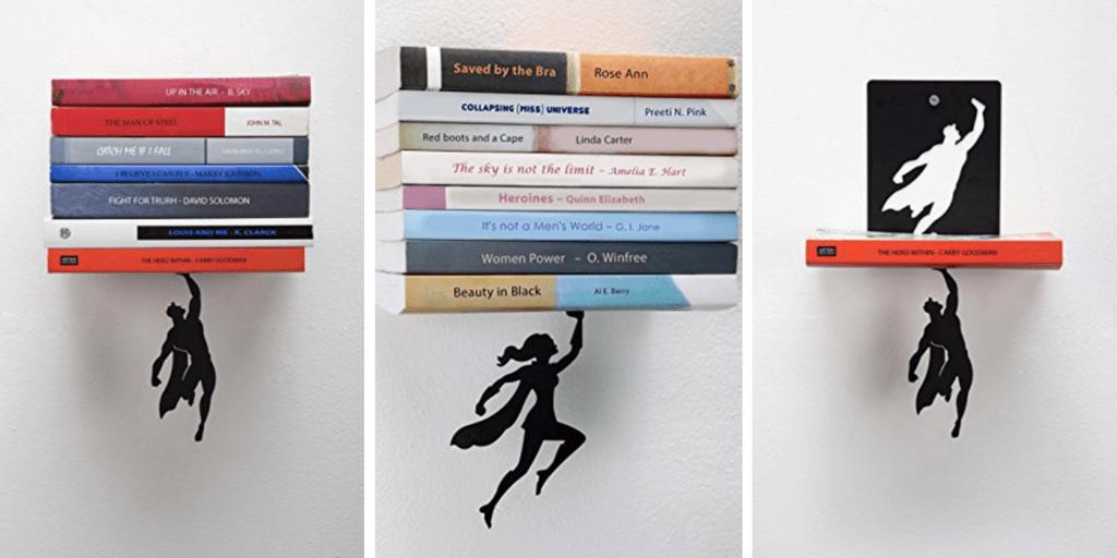 Regalos para lectores: estantes de súper héroes para libros
