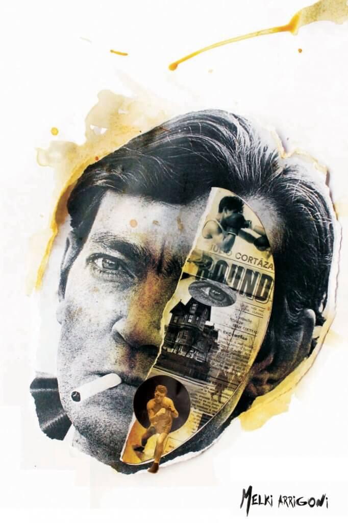 Retrato de Julio Cortázar realizado con la técnica del collage