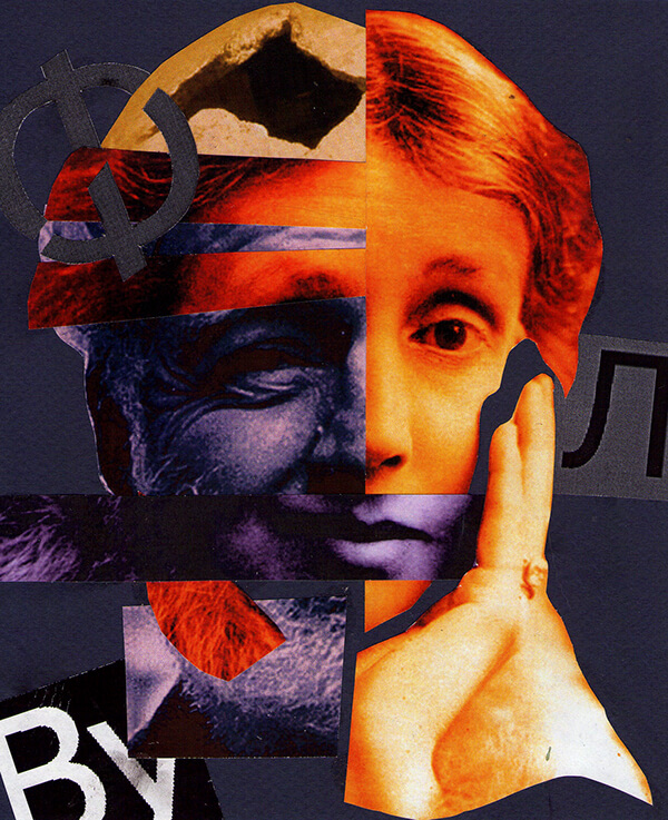 Collage de Virginia Woolf con Ernest Hemingway