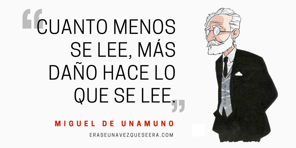 Frase de Miguel de Unamuno sobre la lectura