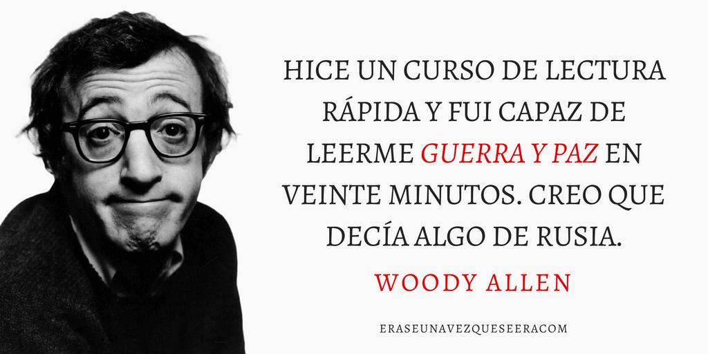 Frase de Woody Allen sobre la lectura